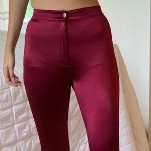 Maroon High Waist Shiny Disco Pants Skinny Jeans